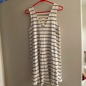 Boutique Black and White Striped Dress
